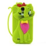 Силиконовый Чехол Кошечка 3D Для Samsung I9500 Galaxy S 4 (Зеленый)