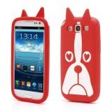 Силиконовый Чехол Lion 3d DOG Для Samsung I9300 Galaxy S 3 (Красный)